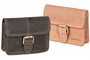 Woodland® - Belt bag with buckle, made of soft natural buffalo leather in cognac