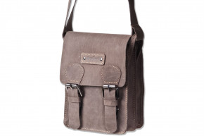 Woodland® Small shoulder bag made ​​of natural buffalo leather in dark-brown/taupe