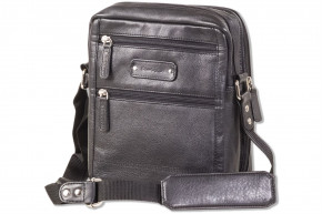Rimbaldi® Modern shoulder bag with mobile office made of soft, high-quality cowhide nappa leather in black