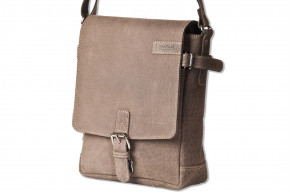Woodland® - Luxury shoulder bag made of natural buffalo leather in dark brown/taupe