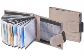 Platino - Kreditkartenetui für 20 Kreditkarten oder 40 Visitenkarten aus weichem, naturbelassenem Rindsleder in Dunkelbraun/Taupe