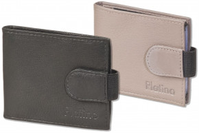 Platino- Credit card holder for 18 cards or 38 business cards made of soft, untreated cow leather
