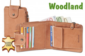 Woodland® Multibag 3 in 1: Purse - Neck Pouch - Belt bag, all in one! Made of soft, untreated buffalo leather in cognac