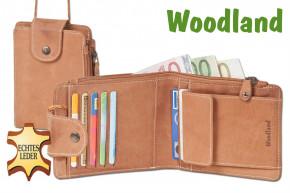 Woodland® Multibag 3 in 1: Geldbörse - Brustbeutel - Gürteltasche, alles in einem! Aus weichem, naturbelassenem Büffelleder in Cognac