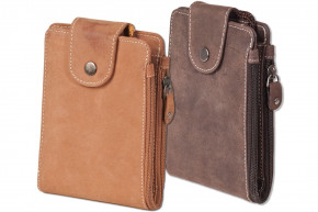 Woodland® - Multibag 3 in 1: Purse - Neck Pouch - Belt bag, all in one! Made of soft, untreated buffalo leather