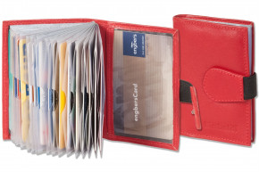 Rinaldo® XXL Credit with 18 card compartments, made of soft, untreated cow-leather in red