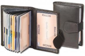 Rinaldo® XXL-Kreditkartenetui mit 18 Kartenfächern aus weichem Rinds-Nappaleder in Dunkelbraun