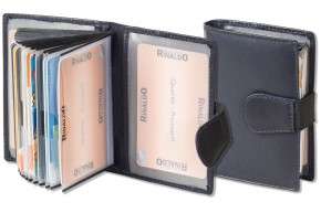Rinaldo® - XXL Credit Card-Holder with 18 card compartments made of soft, untreated cow leather in navyblue