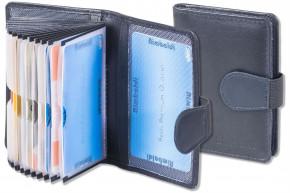 Rimbaldi® XXL-Kreditkartenetui mit 20 Kartenfächern und RFID/NFC Ausleseschutz aus weichem Rind-Nappaleder in Dunkelblau