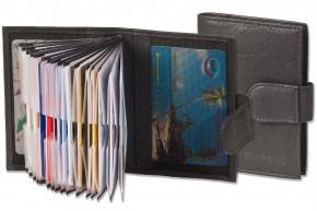 Rimbaldi® XXL-Kreditkartenetui mit 20 Kartenfächern aus Rind-Nappaleder in Schwarz