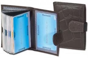 Rimbaldi® XXL-Kreditkartenetui mit 22 Kartenfächern aus Rindsleder mit Krokoprägung in Multitone-Braun