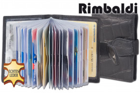 Rimbaldi® XXL credit card holder with 22 card slots made of scow leather with croco embossing in black