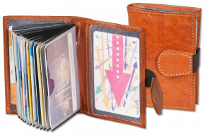 Woodstone® Kreditkartenetui mit Platz für insgesamt 18 Kreditkarten aus OIL PULL-UP Büffelleder in Cognac
