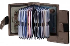 Platino - XXL-Kreditkartenetui mit 18 Kartenfächer aus weichem, naturbelassenem Rindsleder in Braun/Grau (Taupe)