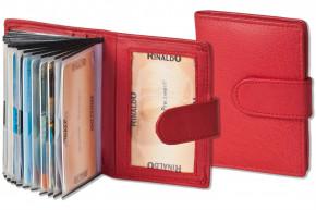 Rinaldo® XXL-Kreditkartenetui für insgesamt 19 Kreditkarten aus weichem, naturbelassenem Rindsleder in Rot