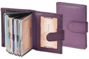 Rinaldo® XXL credit card holder with 19 card compartments made of soft, untreated cow leather in aubergine