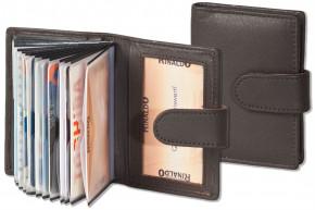 Rinaldo® XXL-Kreditkartenetui für insgesamt 19 Kreditkarten aus weichem, naturbelassenem Rindsleder in Dunkelbraun