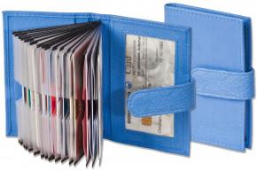 Rimbaldi® XXL-Kreditkartenetui mit 21 Kartenfächern aus weichem, naturbelassenem Rindsleder in Royal-Blau