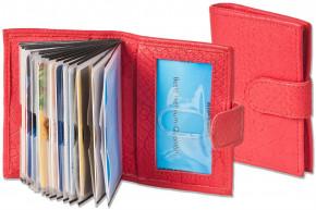Rimbaldi® XXL-Kreditkartenetui mit 16 Klarsicht-Kartenfächern aus weichem, naturbelassenem Rindsleder mit Krokoprägung in Rot
