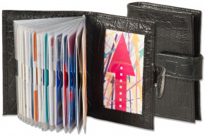 Rimbaldi® XXL credit card holder with 19 card slots made of soft, natural cow leather with crocodile embossing in black