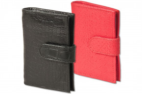 Rambaldi®- XXL credit card holder with 22 card slots made of soft, natural cow leather with croc embossing
