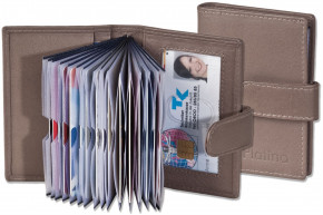 Platino - XXL credit card holder with 19 card slots made of soft, natural cow leather in brown / gray (taupe)