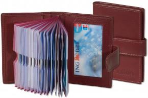 Platino - XXL-Kreditkartenetui mit 19 Kartenfächern aus weichem, naturbelassenem Rindsleder in Cherry