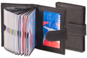 Platino - XXL-Kreditkartenetui mit 19 Kartenfächern aus weichem, naturbelassenem Rindsleder in Schwarz