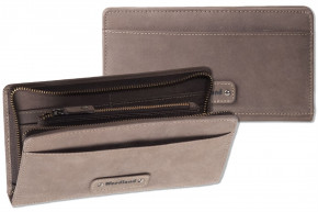 Woodland® Modern travel / document bag made of soft, untreated buff in Dark Brown / Taupe