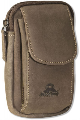 Woodland® - Luxury shoulder bag made ​​of natural buffalo leather in dark-brown/taupe