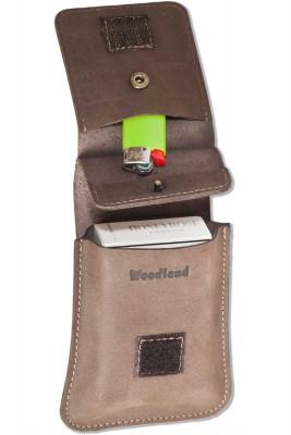 Woodland® Zigarettenschachtel-Etui aus naturbelassenem Büffelleder in Dunkelbraun/Taupe