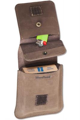 Woodland® Zigarettenenschachtel-Etui aus naturbelassenem Büffelleder in Dunkelbraun/Taupe