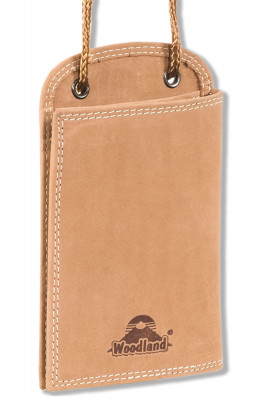 Woodland® Practical neck-pouches made from natural buffalo leather in cocnac