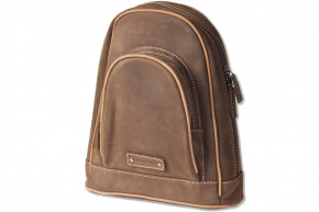 Woodland® Modern backpack made of natural, soft buffalo leather in dark brown / taupe