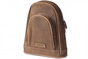 Woodland® Moderner Rucksack  aus naturbelassenem, weichem Büffelleder in Dunkelbraun/Taupe