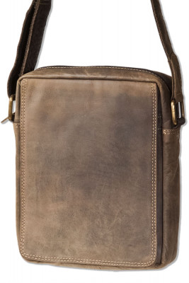 Wild Nature® shoulder bag made of natural buffalo leather in dark brown