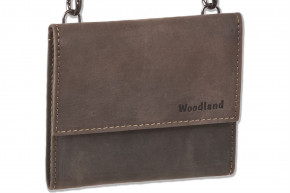 Woodland® Big Money bag with purse made from natural buff leather leather in dark-brown/taupe