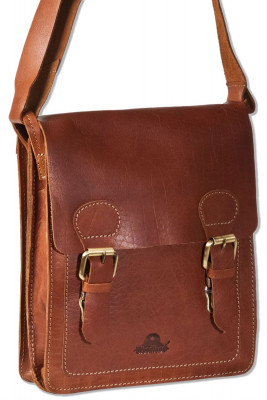 Woodland® High quality shoulder bag made of rustic OIL PULL-UP buffalo leather in brown