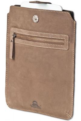 Woodland® Hochwertige Ledertasche für Tablets aus weichem, naturbelassenem Büffelleder in Dunkelbraun/Taupe