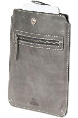 Woodland® Hochwertige Ledertasche für Tablets aus naturbelassenem Büffelleder in Anthrazit