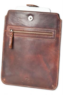 Woodland® Hochwertige Ledertasche für Tablets aus rustikalem OIL PULL-UP Büffelleder in Braun