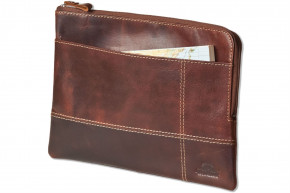 Woodland® Hochwertige Ledertasche für Computer-Tablets aus rustikalem Multicolor Büffelleder in Cognac