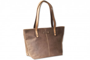 Woodland® leather tote in natural buffalo leather in dark brown / taupe