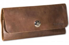 Woodland® Brillenetui aus hochwertigem OIL-PULL UP Leder in Dunkelbraun