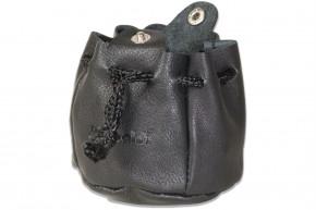 Rimbaldi® Kleiner Lederbeutel mit Kordelzug und Druckknopfverschluss aus besonders weichem Nappaleder in Schwarz