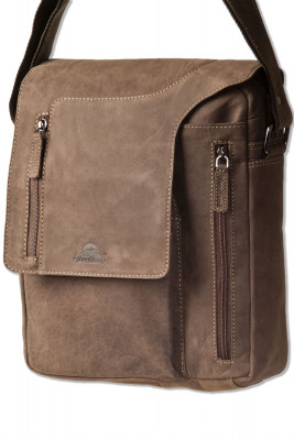 Woodland® Shoulder bag with small computer compartment made of natural buffalo leather in dark brown / taupe
