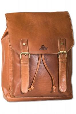 Woodland® Großer Rucksack aus naturbelassenem, geölten Büffelleder in Cognac