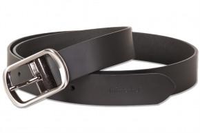 Rimbaldi - Voll-Ledergürtel mit masssiver Metallschnalle, glattes Büffel-Oberleder mit natürlicher Lederstruktur in Schwarz
