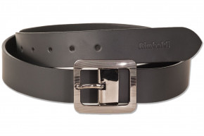Rimbaldi - Voll-Ledergürtel mit schöner Design-Metallschnalle, glattes Büffelleder - matt/schwarz