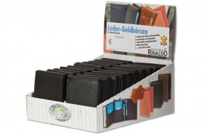 Rinaldo® Displaykarton mit 20 Riegel-Lederbörsen Nr. 4550609 im Querformat in Schwarz